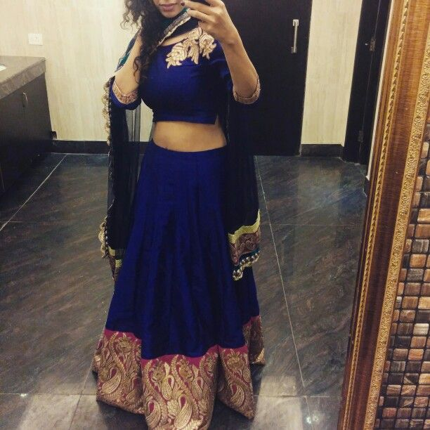 Ethnic chic | royal blue | Indian | big blown skirt and crop top with pink and gold border | Wedding | Celebrations | SS14/15