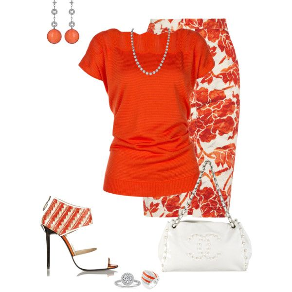 Orange & White by marisol-menahem on Polyvore featuring moda, Altuzarra, Just Cavalli, Chanel, Nehita and Etcetera