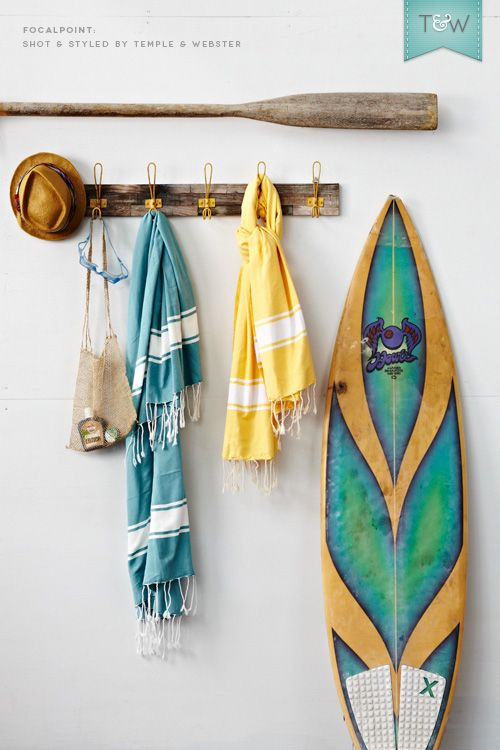 FocalPoint Turkish towels in bright hues, plus a surfboard and a weathered oar. COuld this look get any more coastal?! Styled by @Adam M Powell for Temple & Webster.