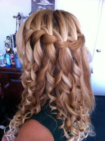 waterfall braids, curlsHairstyles, Bridesmaid Hair, Waterfal Braids, Prom Hair, Wedding Hairs, Hair Style, Waterfall Braids, Promhair, Curly Hair