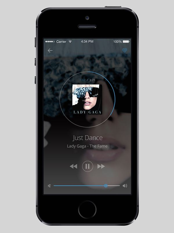 UI for a music player app on Behance