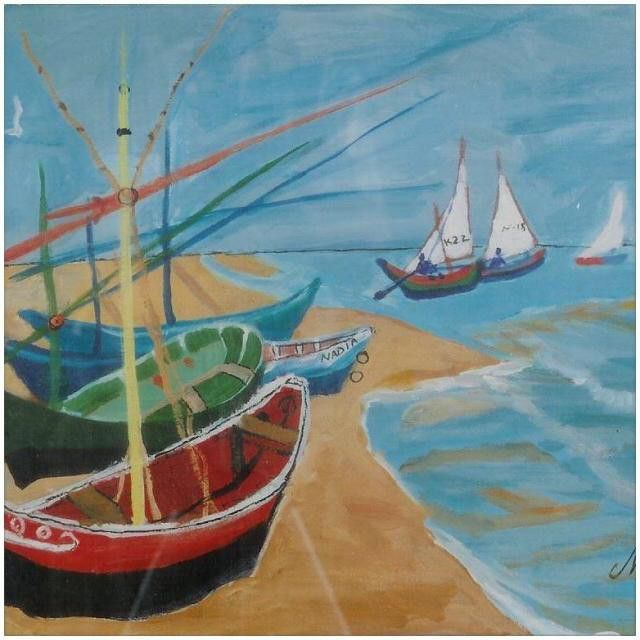 This #painting is still #available. You can #purchase the #original a #print or a #handembellishedprint. I call it #Greekfishingboat. I painted this after my trip to #gloriousGreece back in the early #90's.  I hope you enjoy it.