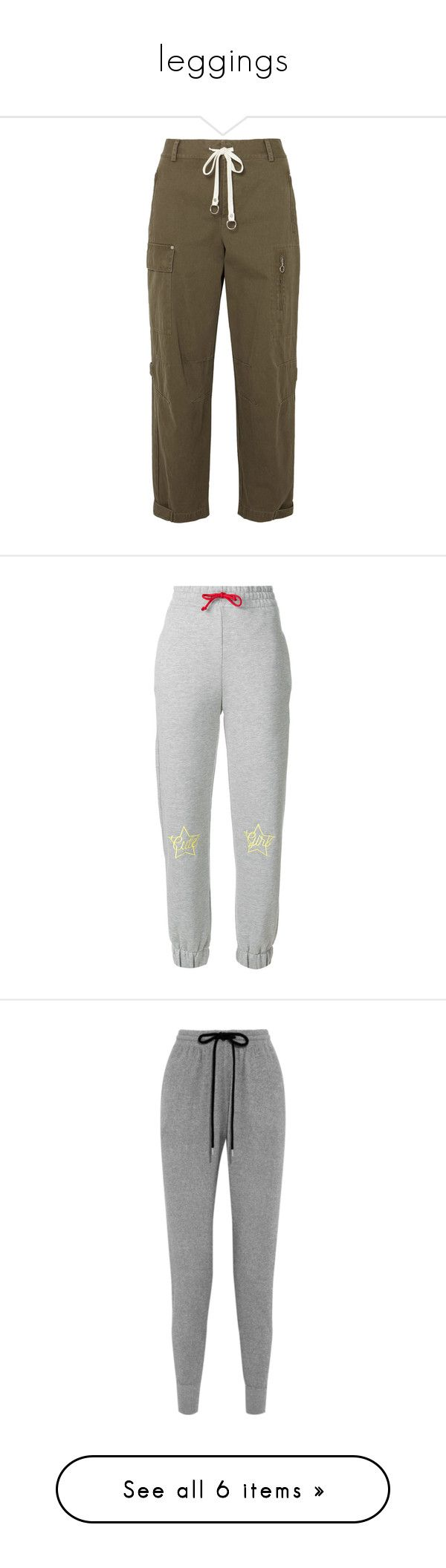 """""""leggings"""" by barbymollon ❤ liked on Polyvore featuring pants, jeans, army green, tapered fit pants, olive green pants, brown trousers, brown pants, military green pants, activewear and activewear pants"""