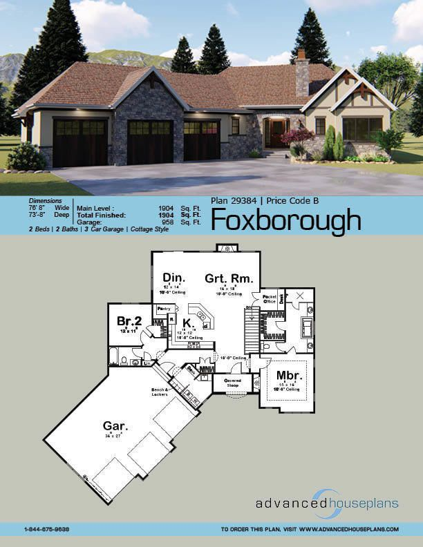 1 Story Craftsman House Plan Foxborough Craftsman House Plan House Plans Ranch Style House Plans