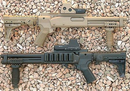 Pair of Remington 870s converted into AOWs (Any Other Weapon) ala shortened barrels.