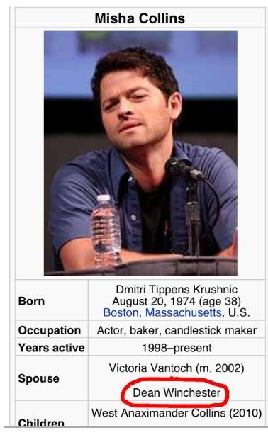 Someone's having fun on Wikipedia...hahaha but really #supernatural