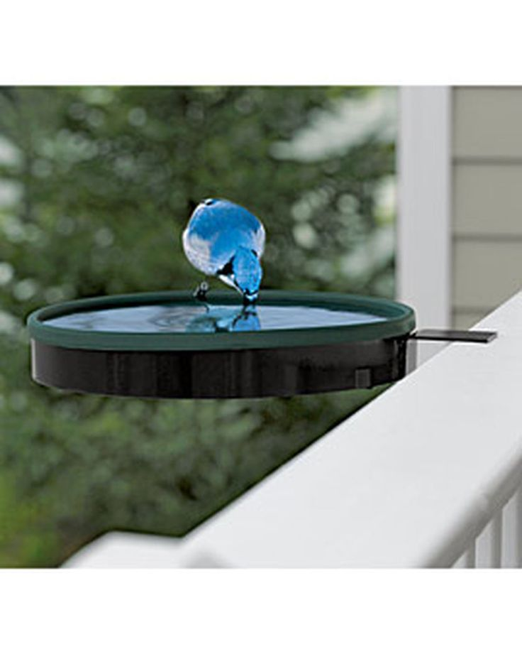 Railing Mount Heated Bird Bath | Bird Bath Heater | Gardeners.com