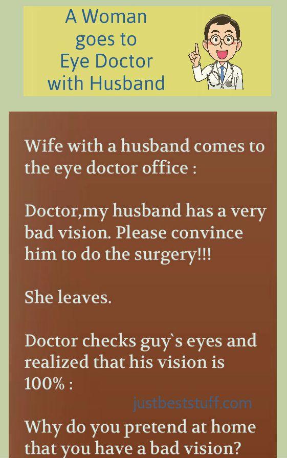 A Woman Goes To Eye Doctor With Husband Eye Doctor Doctor Husband