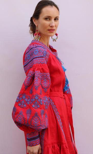 Red Vita Kin style linen vyshyvanka linen MIDI blues Embroidery. Sizes - XS-XXL MD021