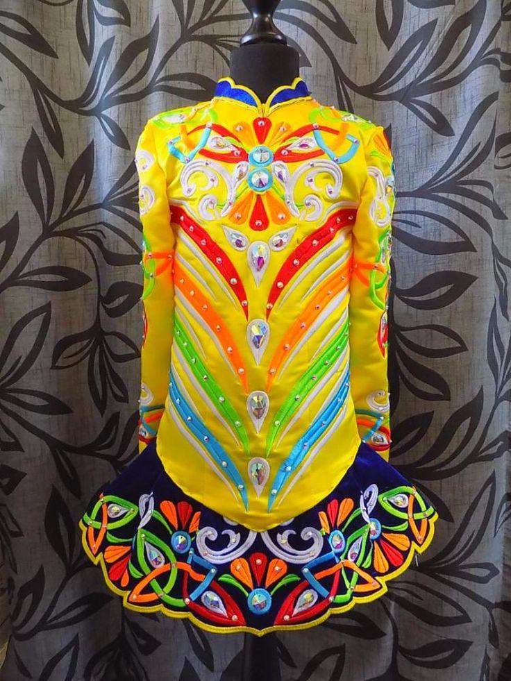 Magnificent Yellow Devlin Designs Irish Dance Dress Solo Costume For Sale