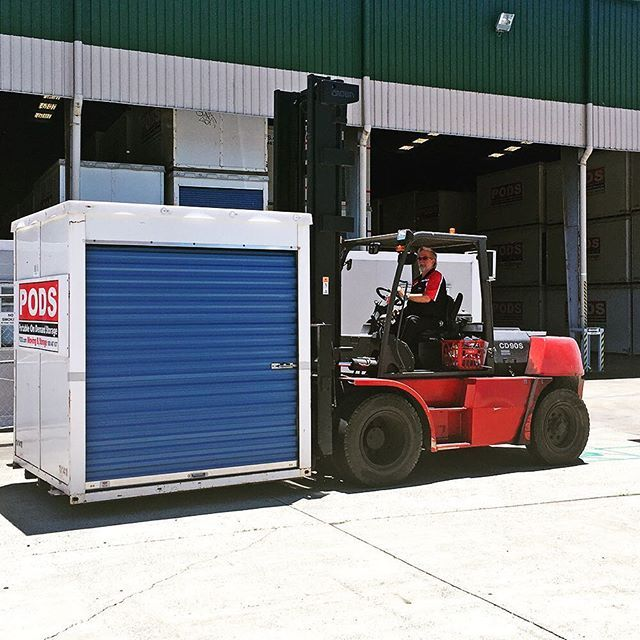 Neville, PODS Brisbane Branch manager, busy moving one of our small containers ready for customer access #podsbrisbane #podsstorage
