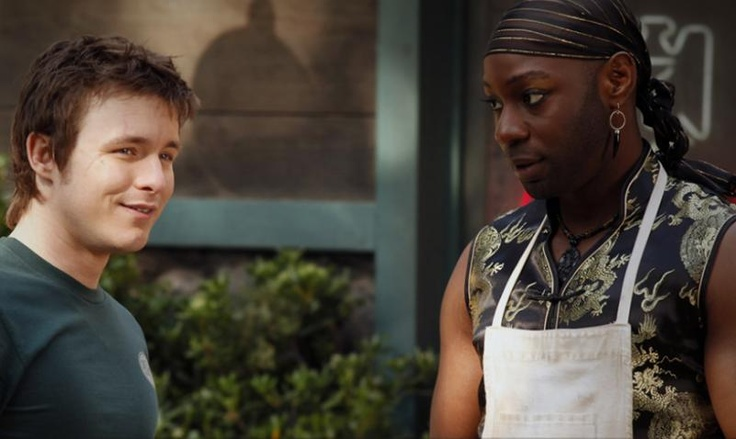 """Marshall Allman and Nelsan Ellis portray the characters of Tom Mickens and Lafayette Reynolds in the episode """"Trouble""""......"""
