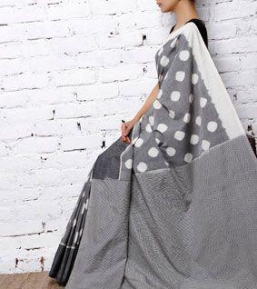 Grey & White Handwoven Ikat Cotton Saree