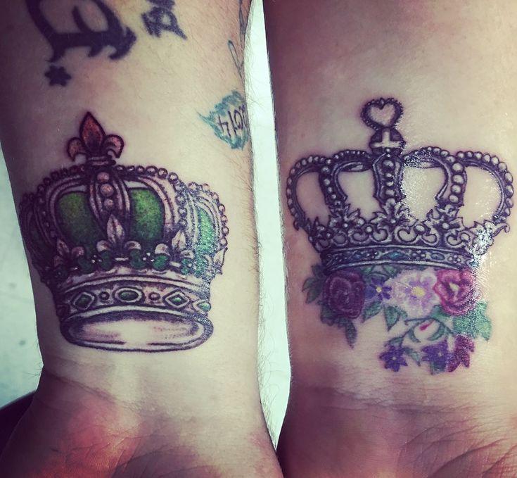Crown tattoo wrist Couples tattoo