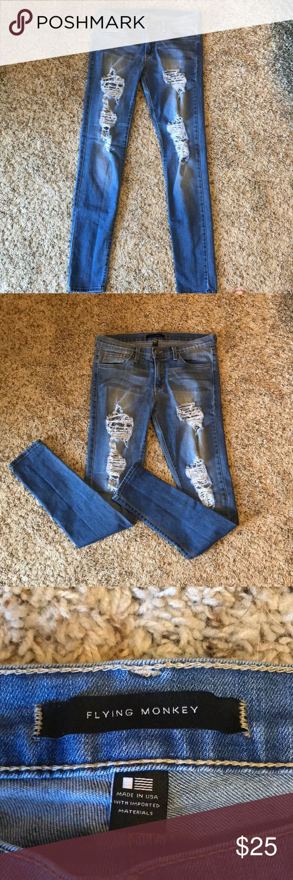 Flying Monkey jeans Cute, distressed flying monkey jeans! Size 28 and in great condition! Very comfortable and perfect for spring or any season! flying monkey Jeans Skinny