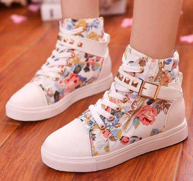 Womens Floral Rivet Buckle Lace Up Side Zip Sneakers Canvas Casual Shoes Sneakers Fashion Womens Fashion Shoes Girly Shoes