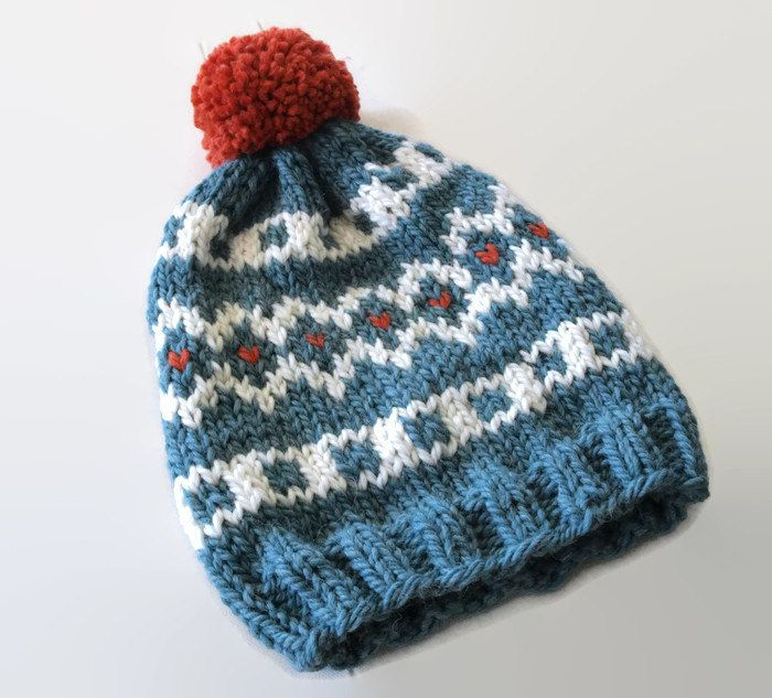 Knit fair isle hat, pom pom hat  Hand Knit Beanie, Sea Green- Cream -Orange beanie, chunky woman hat, wool hat, winter accessory, warm hat by PepperKnit on Etsy