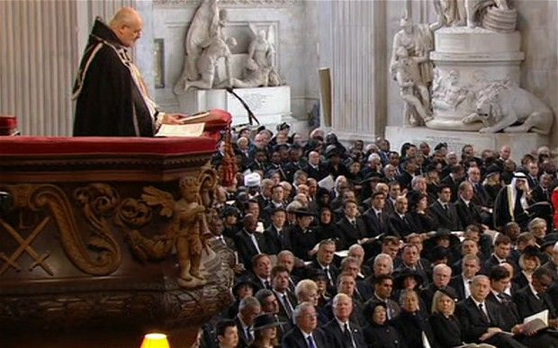 Margaret Thatcher is 'one of us' in death, Bishop of London tells funeral - Telegraph.