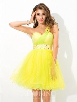 A-Line One-Shoulder Sleeveless Beading Short Net Cocktail Dress