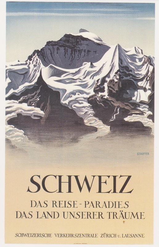 Fred Stauffer, Plakat fut Schweiz. Verkehrszentrale, 1930. Museum fut Gestaltung, Zürich.