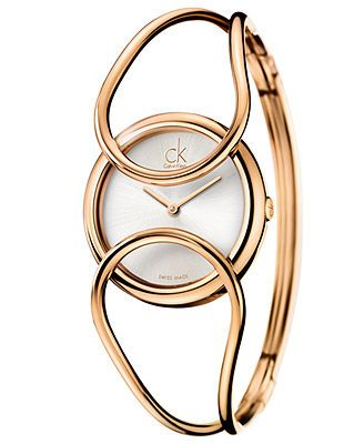 ck Calvin Klein Watch, Women's Swiss Inclined Pink Gold PVD Stainless Steel Bangle Bracelet 30mm K4C2M616
