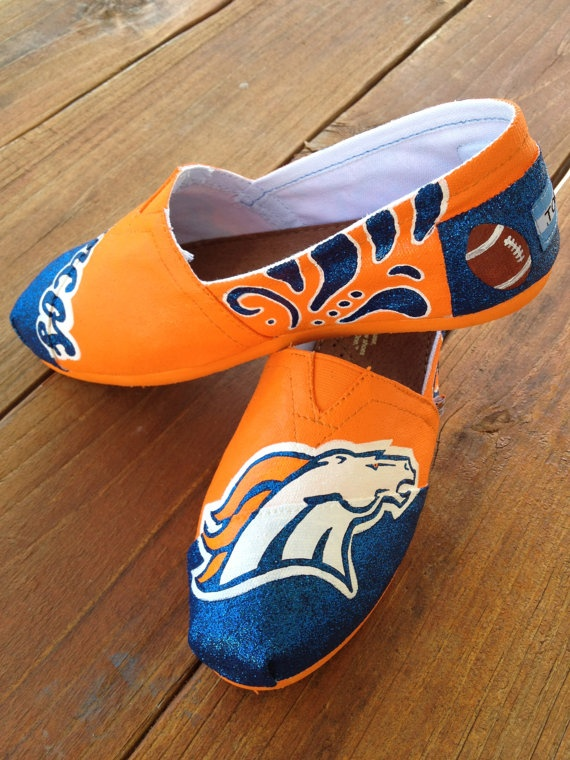 Denver Broncos Painted Custom TOMS. Boyfriend would think these are awesome.