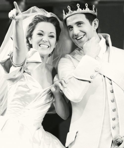 Laura Osnes as Cinderella and Santino Fontana as the Prince in Cinderella on Broadway