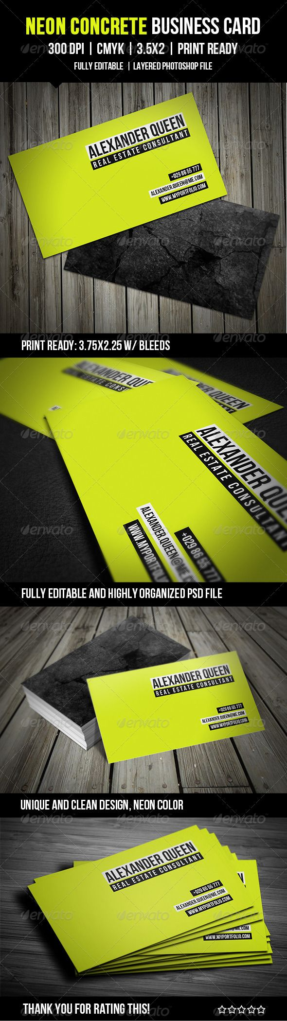 Neon Concrete Business Card - GraphicRiver Item for Sale