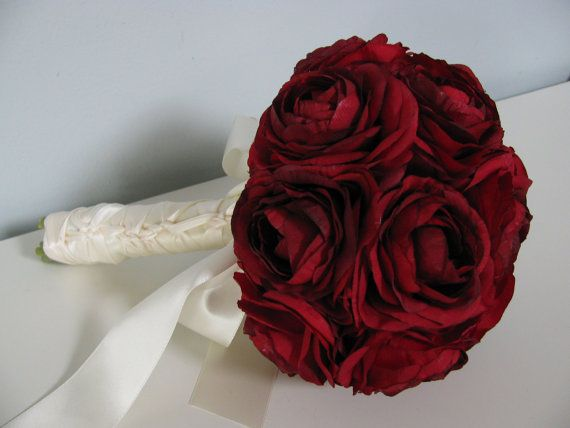 Bridal Bouquet Red Ranunculus Silk Flowers Victorian Vintage Classic Braided Ivory Handle Choose from 9 colors