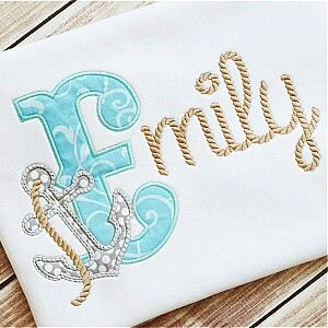 Anchor alpha applique with rope font