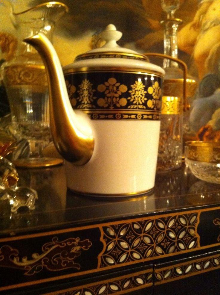 Grande cafetière théière porcelaine BERNARDAUD Limoges Jardin Imperial Or NEUVE