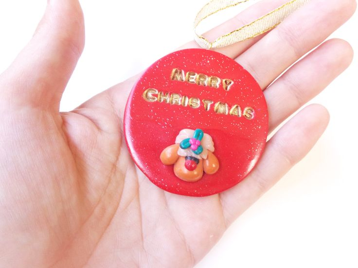 Unique Christmas Ornament, Santa Reindeer, Polymer Clay, OOAK, Tree Ornament, Christmas Decoration, Christmas Tree Decor, Handmade Ornament by FairyDustHC on Etsy