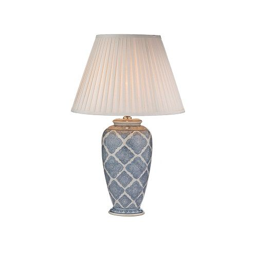DAR ELY4223 Ely Pale Blue & White Geometric Print Table Lamp (Base Only) (Dar Lighting ELY4223) - discounthomelighting
