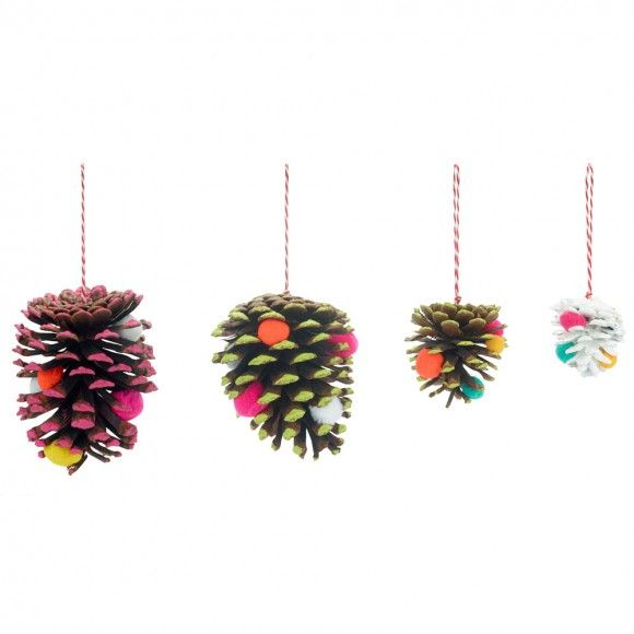 Pom pom pine cone decorations - set of 6