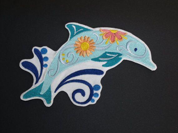 Delphin Flower Power Eisen auf Nähen auf Pflaster Motiv