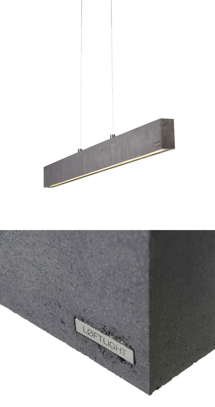 CONCRETE LINE - pendant lamp. Anthracite colour, 102.5cm wide. Built in 1140lm LED source #handcast #concretelamp #loft #loftlight