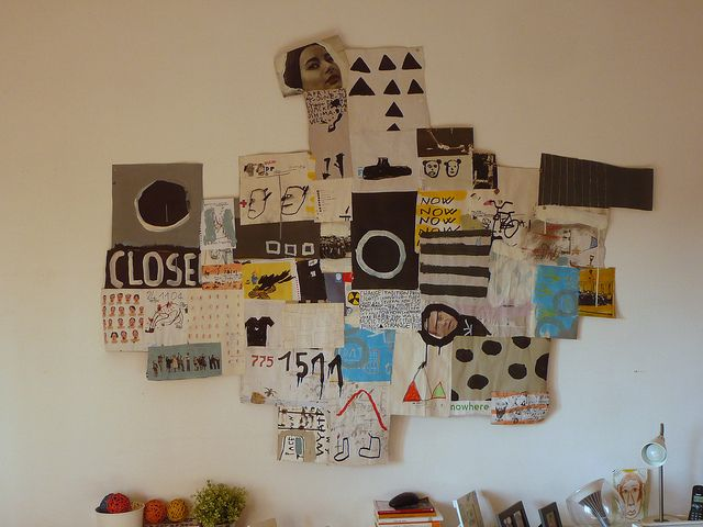 """It's like art journal pages all combined into one big mixed media piece. Coolness. Artist: """"notamax"""" on flickr."""