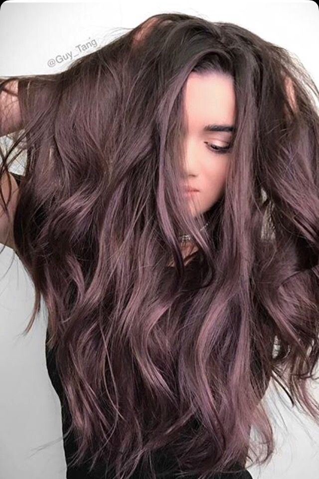 Brown amethyst dark chocolate brown hair with a lilac purple undertone