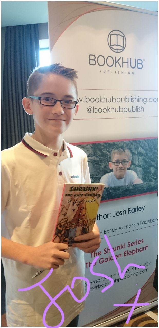 Book Hub Publishing Author, Josh Earley, at his book launch for Shrunk! The Wasp Kingdom in Athlone, Ireland November 2015.