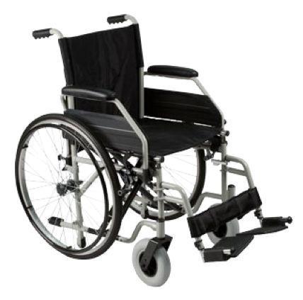 Carrozzina da autospinta con telaio pieghevole. Caratteristiche di serie: •Telaio pieghevole di acciaio verniciato in colore grigio. •Stabilizzatori di seduta. •Predisposizione per la sostituzione delle ruote posteriori con trasformazione da autospinta a transito. •Forcelle anteriori che permettono la regolazione delle ruote anteriori in PU, di mm. 200 di diametro, in due posizioni. •Ferma-polpacci. •Fiancate ribaltabili […]