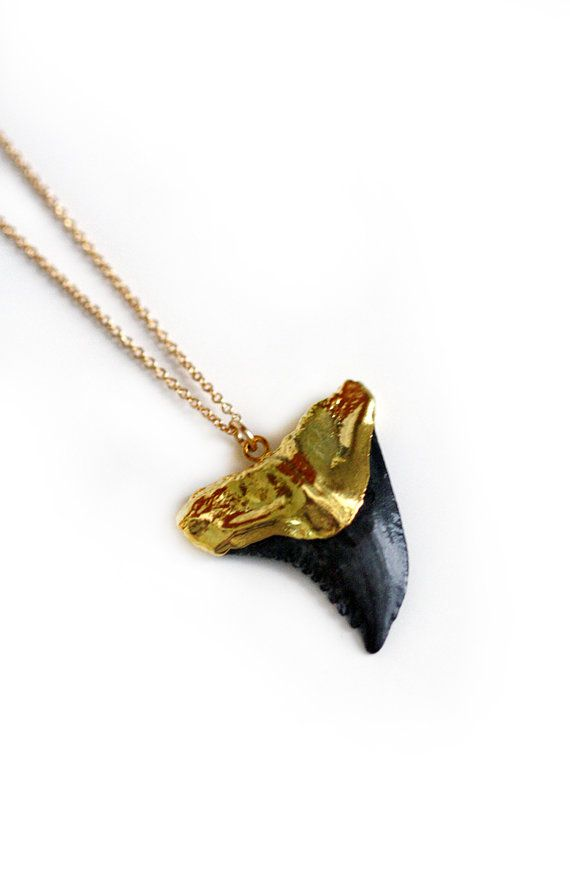 SHARK tooth necklace black by keijewelry on Etsy, $69.00
