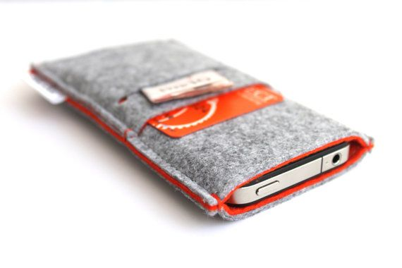 iPhone 5 / iPhone 4-4S/ Samsung S4/ Alcatel One Touch Sleeve- Light Grey and Orange via Etsy