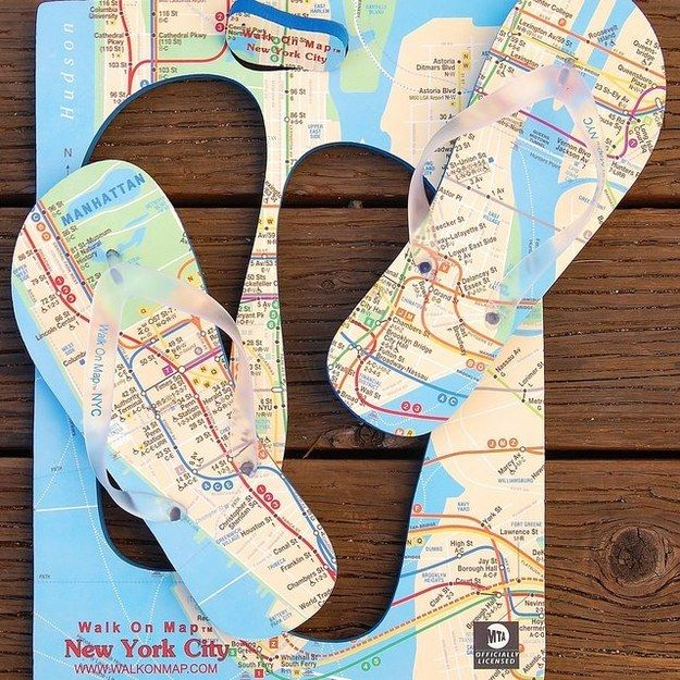 Walk On Map NYC Flip Flops | Some Of The Best Gadgets For Women