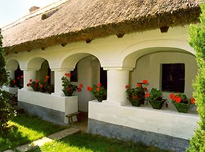 Traditional Hungarian countryside village house with geraniums #Hungary