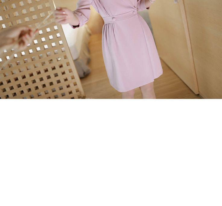Buy MyFiona Puff-Shoulder 3/4-Sleeve Coatdress   YesStyle