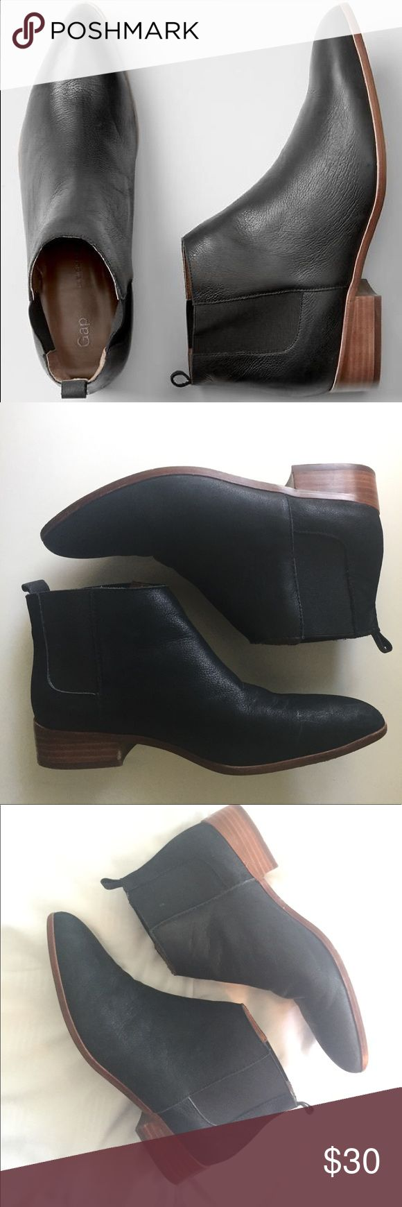 Gap Chelsea Boots These are a great pair of matte black, low heel chelsea boots. These are in pretty good condition with some creasing on the toe area. GAP Shoes