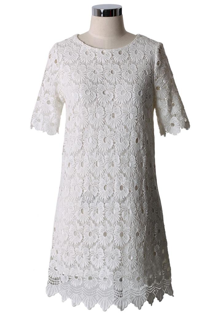 White Crochet Floral Shift Dress - New Arrivals - Retro, Indie and Unique Fashion