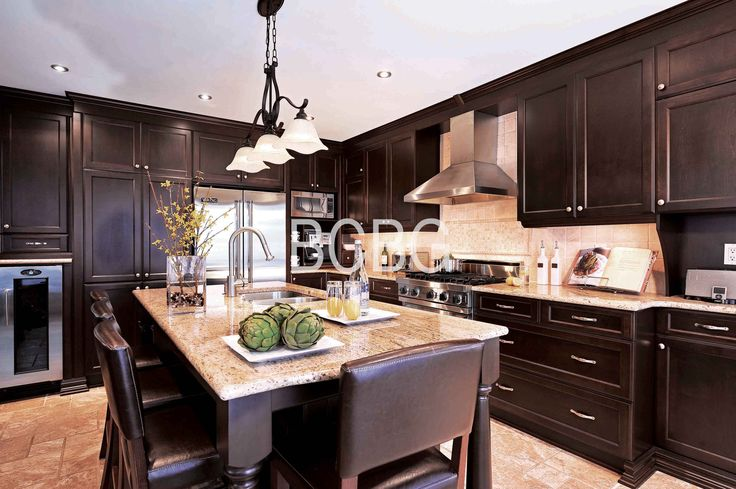 Transitional kitchen style with maple cabinets.