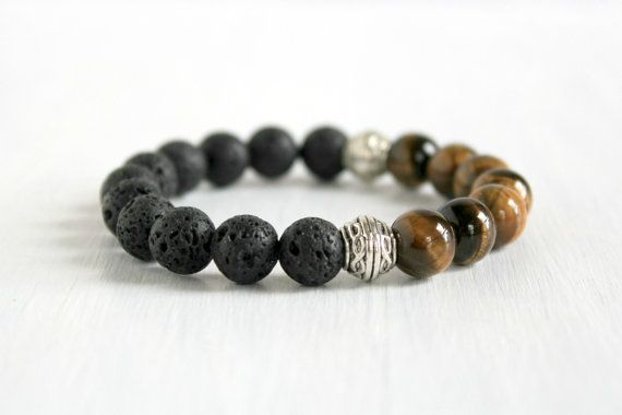 Men Tigers Eye Lava Beaded Stretch Bracelet Bohemian by tribomo