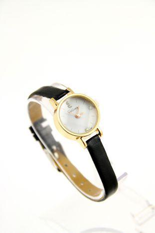 Czarny zegarek damski z cyrkoniami na skórzanym pasku czarny Akcesoria \ Zegarki \ Zegarki Fashion Butik 158277